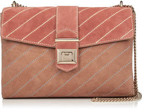 Jimmy Choo MARIANNE SHOULDER BAG Ballet Pink and Rosewood Suede Mix Shoulder Bag with Stitch Detailing