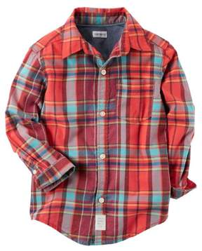 Carter's LS orange blue madras woven shirt Plaid