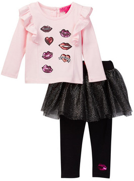 Betsey Johnson Sequin Patch Ruffle Tee & Tulle Skegging Set (Baby Girls)