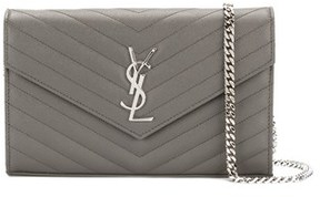 Saint Laurent Women's Grey Leather Clutch. - GREY - STYLE