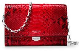 Michael Kors Collection Yasmeen Python Small Leather Clutch