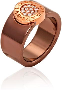 Bvlgari Bronze Ceramic 18K Pink Gold Diamond Band Ring - Size