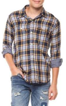 Dex Boy's Long-Sleeve Plaid Cotton Collared Shirt
