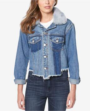 Buffalo David Bitton Nicci Faux-Fur-Trim Patchwork Denim Jacket