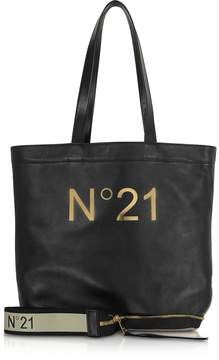 N°21 Black Leather Small Foldable Shopping Bag