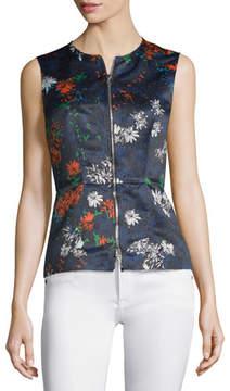 Cédric Charlier Sleeveless Floral-Print Zip-Front Top, Fantasia Blue