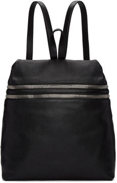 Kara Black Large Double Zip Leather Backpack
