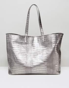 Pieces Metallic Oversized Tote Bag