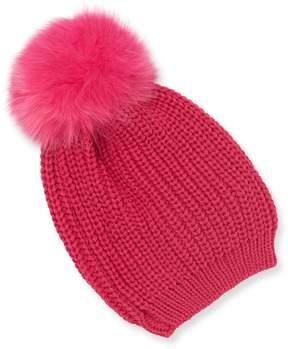 Adrienne Landau Women's Fox Fur Pom Hat