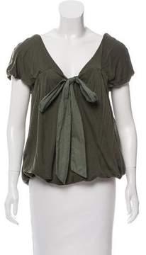 Clu Tie-Accented Short Sleeve Top