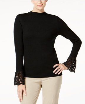 Charter Club Lace-Cuffed Sweater, Created for Macy's