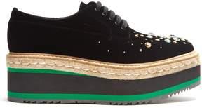 Prada Crystal-embellished velvet platform lace-up shoes