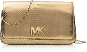 Michael Kors Mott Large Pale Gold Metallic Ayers Embossed Leather Clutch - GOLD - STYLE