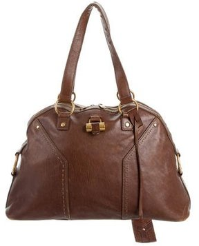 Saint Laurent Leather Muse Tote - BROWN - STYLE