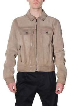 Diesel Black Gold Men's Beige Leather Outerwear Jacket.
