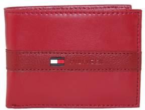 Tommy Hilfiger Men's Leather Ranger Passcase Billfold Wallet, Red
