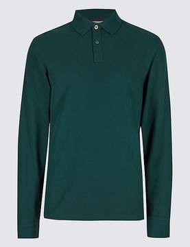 Marks and Spencer Pure Cotton Long Sleeve Polo Shirt