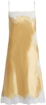 Carine Gilson Lace-trimmed silk-satin cami dress