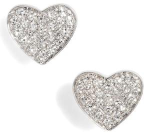 Ef Collection Women's Diamond Heart Stud Earrings