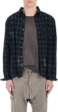 NSF Men's Distressed Checked Cotton Button-Front Shirt