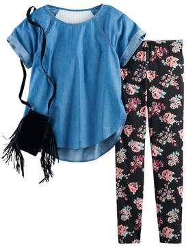 Self Esteem Girls 7-16 Chambray Lace Back Top & Floral Leggings Set with Fringe Crossbody Purse