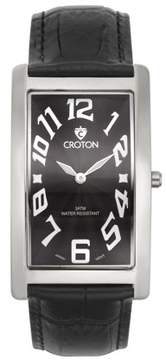 Croton Men's Aristocrat Silvertone Curved Rectangular Stainless Watch with Black Dial & Black Strap