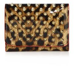 Christian Louboutin Macaron Mini Spiked Patent Leopard Wallet