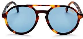 Carrera Double Bridge Round Aviator Sunglasses, 58mm