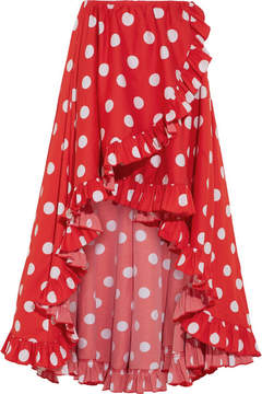Caroline Constas Adelle Asymmetric Ruffled Polka-dot Cotton Skirt - Red