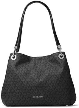 Michael Kors Raven Large Leather Shoulder Tote - BLACKS - STYLE