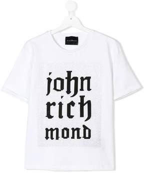 John Richmond Kids TEEN embellished logo T-shirt