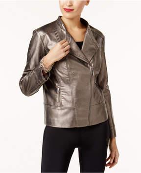 Alfani Metallic Faux-Leather Jacket, Created for Macy's