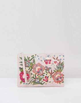 New Look Floral Embellished Zip Top Clutch Bag