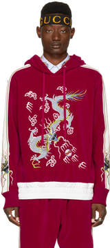 Gucci Red Velour Embroidered Hoodie