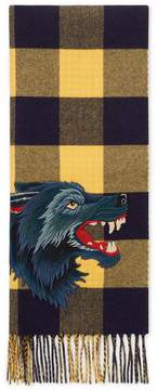 Check wool cashmere scarf with wolf