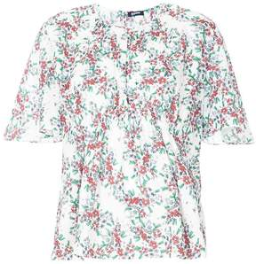Jil Sander Navy floral-print gathered shirt
