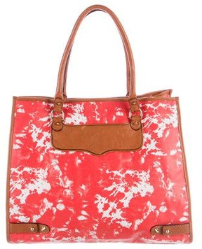 Rebecca Minkoff Leather-Trimmed Printed Tote - ORANGE - STYLE