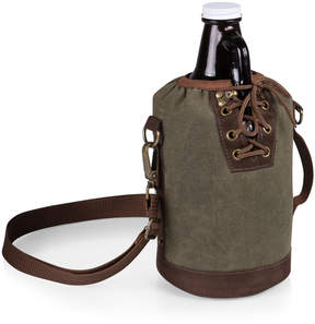 Picnic Time Khaki Green & Brown Insulated Growler Tote & Amber Glass Growler