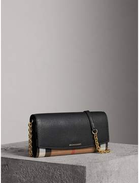 Burberry House Check and Leather Wallet with Chain