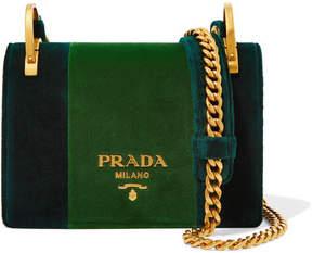 Prada Pattina Velvet Shoulder Bag - Emerald
