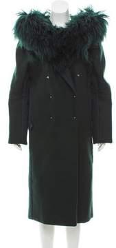 Esteban Cortazar Mongolian Fur-Accented Oversize Coat w/ Tags F/W 2016