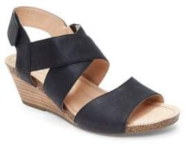 Me Too Toree Leather Stacked Wedge Heel Sandals