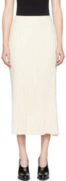 Jil Sander Off-White Long Ribbed Skirt