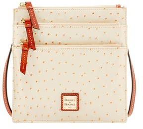 Dooney & Bourke Ostrich North South Triple Zip Shoulder Bag. - PEARL - STYLE