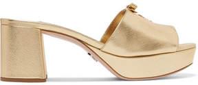 Prada Logo-embellished Metallic Textured-leather Platform Mules - Gold