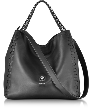 Roberto Cavalli Medium Black Leather Tote Bag