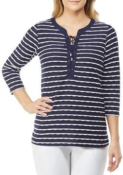 Allison Daley Lace-Up Front Mini Pucker Stripe Knit Top