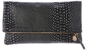 Clare V. Embossed Leather Fold-Over Clutch