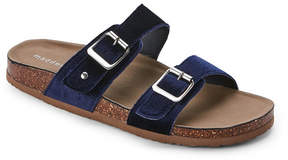 Madden-Girl Navy Brando Velvet Footbed Sandals