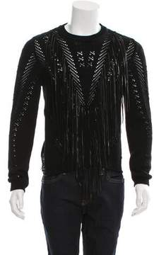 Roberto Cavalli Leather-Trimmed Open Knit Sweater w/ Tags